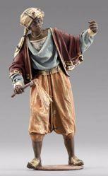 Immagine di Cammelliere moro in piedi cm 10 (3,9 inch) Presepe vestito Immanuel stile orientale in legno Val Gardena Statua con abiti in stoffa
