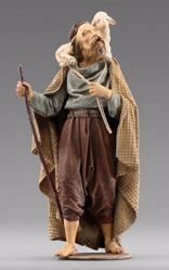 Immagine di Pastore con agnello cm 10 (3,9 inch) Presepe vestito Immanuel stile orientale in legno Val Gardena Statua con abiti in stoffa