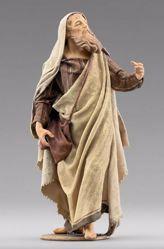 Immagine di Pastore con sacca cm 10 (3,9 inch) Presepe vestito Immanuel stile orientale in legno Val Gardena Statua con abiti in stoffa