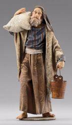 Immagine di Pastore con secchio cm 10 (3,9 inch) Presepe vestito Immanuel stile orientale in legno Val Gardena Statua con abiti in stoffa