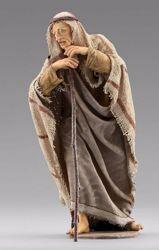 Immagine di Pastore in piedi con bastone cm 10 (3,9 inch) Presepe vestito Immanuel stile orientale in legno Val Gardena Statua con abiti in stoffa