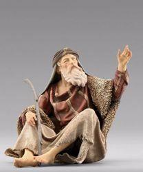 Imagen de Pastor sentado cm 10 (3,9 inch) Pesebre vestido Immanuel estilo oriental en madera Val Gardena Estatua con trajes de tela