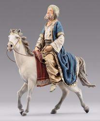 Imagen de Rey Mago a caballo cm 10 (3,9 inch) Pesebre vestido Immanuel estilo oriental estatua en madera Val Gardena trajes de tela