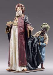 Immagine di Re Magio con Paggio cm 10 (3,9 inch) Presepe vestito Immanuel stile orientale statua in legno Val Gardena abiti in stoffa