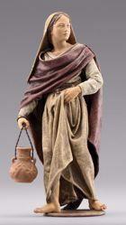 Immagine di Donna in piedi con brocca cm 10 (3,9 inch) Presepe vestito Immanuel stile orientale statua in legno Val Gardena abiti in stoffa