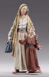 Imagen de Madre con Niño  cm 10 (3,9 inch) Pesebre vestido Immanuel estilo oriental estatua en madera Val Gardena trajes de tela