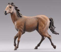 Immagine di Cavallo marrone che corre cm 12 (4,7 inch) Presepe vestito Hannah Alpin Statua in legno Val Gardena