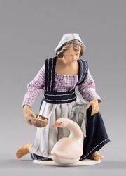 Picture of Kneeling Girl with goose cm 12 (4,7 inch) Hannah Alpin dressed nativity scene Val Gardena wood statue fabric dresses