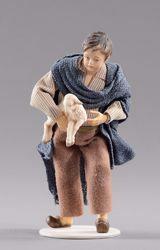 Immagine di Bambino con agnello cm 12 (4,7 inch) Presepe vestito Hannah Alpin statua in legno Val Gardena abiti in tessuto