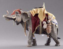 Immagine di Elefante con sella cm 12 (4,7 inch) Presepe vestito Hannah Alpin Statua in legno Val Gardena
