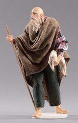Immagine di Pastore anziano con agnello cm 12 (4,7 inch) Presepe vestito Hannah Alpin statua in legno Val Gardena abiti in tessuto