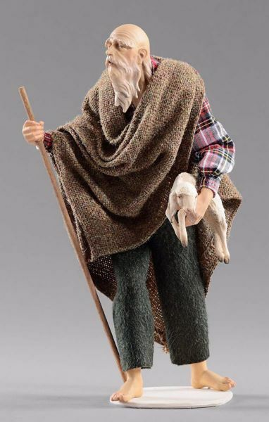 Imagen de Pastor anciano con cordero cm 12 (4,7 inch) Pesebre vestido Hannah Alpin estatua en madera Val Gardena trajes de tela