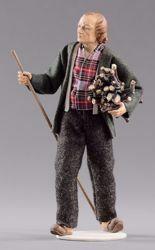 Immagine di Pastore con legna cm 12 (4,7 inch) Presepe vestito Hannah Alpin statua in legno Val Gardena abiti in tessuto