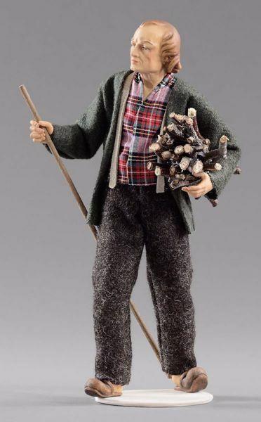 Imagen de Pastor con leña cm 12 (4,7 inch) Pesebre vestido Hannah Alpin estatua en madera Val Gardena trajes de tela