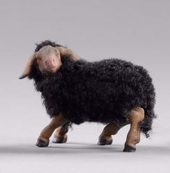 Picture of Black Lamb with wool cm 12 (4,7 inch) Hannah Alpin dressed Nativity Scene in Val Gardena wood