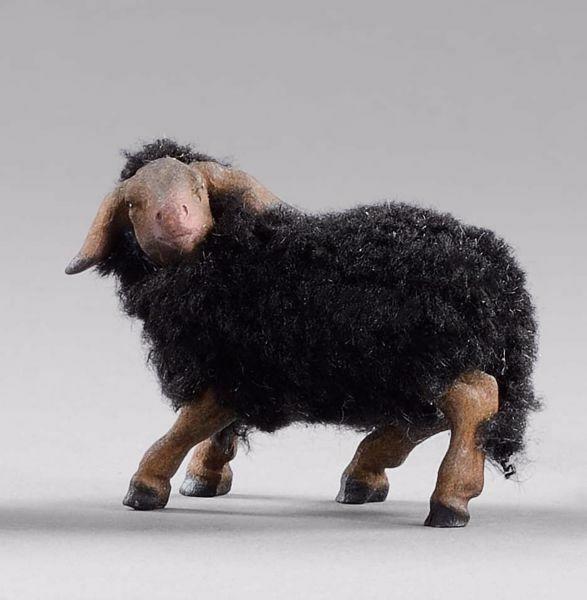 Imagen de Cordero negro con lana cm 12 (4,7 inch) Pesebre vestido Hannah Alpin en madera Val Gardena