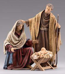 Immagine di Sacra Famiglia (4) Gruppo 3 pezzi cm 10 (3,9 inch) Presepe vestito Immanuel stile orientale statue in legno Val Gardena abiti in stoffa