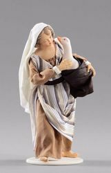 Picture of Girl with goose cm 12 (4,7 inch) Hannah Orient dressed nativity scene Val Gardena wood statue with fabric dresses