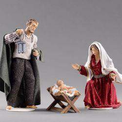 Immagine di Sacra Famiglia (3) Gruppo 3 pezzi cm 12 (4,7 inch) Presepe vestito Hannah Alpin statua in legno Val Gardena abiti in tessuto