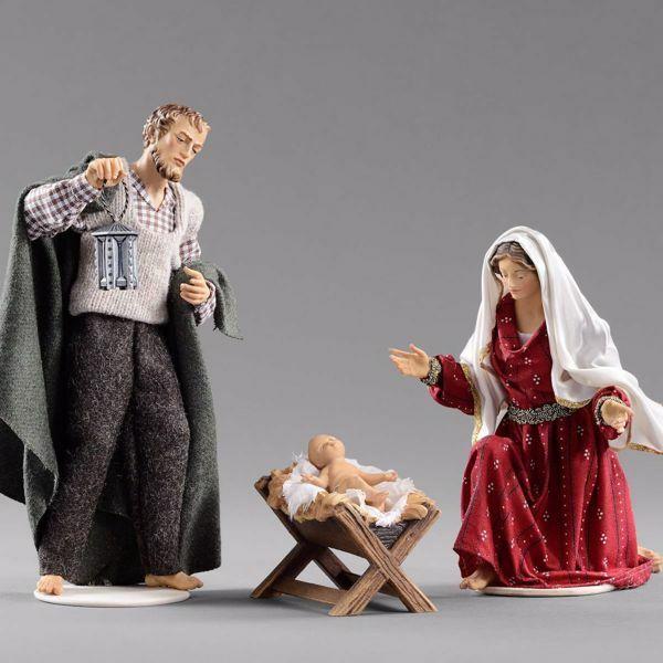 Imagen de Sagrada Familia (3) Grupo 3 piezas cm 12 (4,7 inch) Pesebre vestido Hannah Alpin estatua en madera Val Gardena trajes de tela