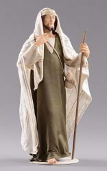 Picture of Shepherd with stick cm 12 (4,7 inch) Hannah Orient dressed nativity scene Val Gardena wood statue with fabric dresses