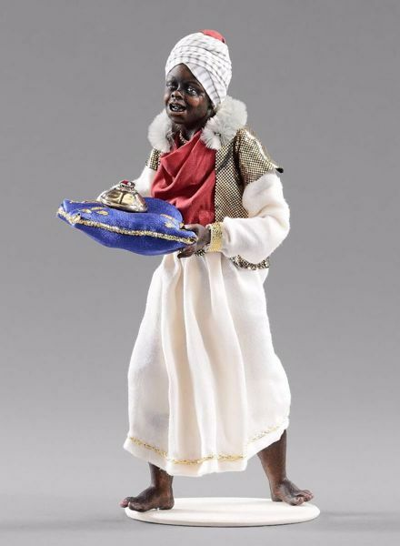 Picture of Moor Servant of the Three Kings cm 12 (4,7 inch) Hannah Orient dressed nativity scene Val Gardena wood statue with fabric dresses