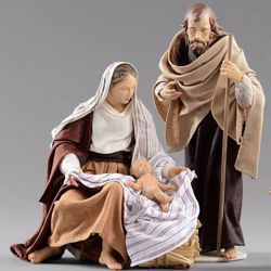 Picture of Holy Family (2) Group 2 pieces cm 12 (4,7 inch) Hannah Orient dressed nativity scene Val Gardena wood statues with fabric dresses