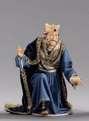 Picture of Melchior Saracen Wise King kneeling cm 12 (4,7 inch) Hannah Orient dressed nativity scene Val Gardena wood statue with fabric dresses