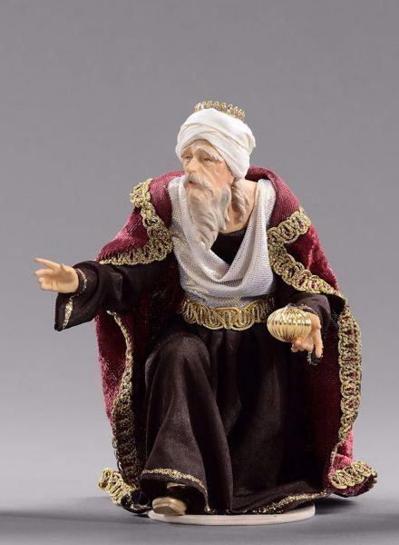 Imagen de Melchor Rey Mago Sarraceno arrodillado  cm 12 (4,7 inch) Pesebre vestido Hannah Alpin estatua en madera Val Gardena trajes de tela