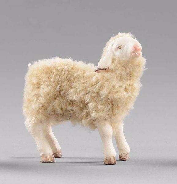 Imagen de Cordero con lana cm 14 (5,5 inch) Pesebre vestido Hannah Alpin en madera Val Gardena