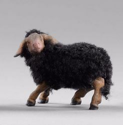 Picture of Black Lamb with wool cm 14 (5,5 inch) Hannah Alpin dressed Nativity Scene in Val Gardena wood
