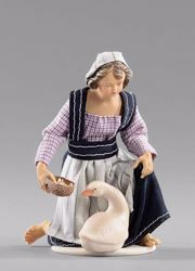 Picture of Kneeling Girl with goose cm 14 (5,5 inch) Hannah Alpin dressed nativity scene Val Gardena wood statue fabric dresses