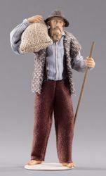 Imagen de Pastor con bolsa cm 14 (5,5 inch) Pesebre vestido Hannah Alpin estatua en madera Val Gardena trajes de tela