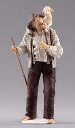 Imagen de Pastor de pie con cordero cm 14 (5,5 inch) Pesebre vestido Hannah Alpin estatua en madera Val Gardena trajes de tela