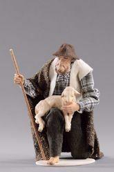 Imagen de Pastor arrodillado con cordero cm 14 (5,5 inch) Pesebre vestido Hannah Alpin estatua en madera Val Gardena trajes de tela