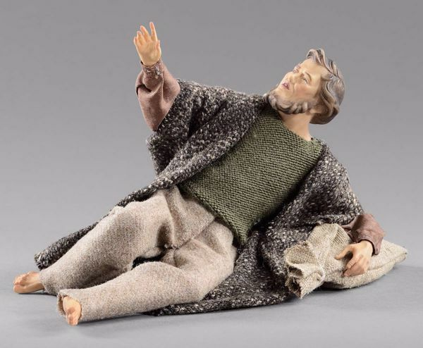 Picture of Amazed Shepherd lying  cm 14 (5,5 inch) Hannah Alpin dressed nativity scene Val Gardena wood statue fabric dresses