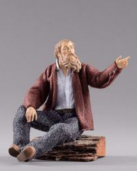 Imagen de Pastor sentado cm 14 (5,5 inch) Pesebre vestido Hannah Alpin estatua en madera Val Gardena trajes de tela