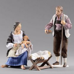 Picture of Holy Family (4) Group 3 pieces cm 14 (5,5 inch) Hannah Alpin dressed nativity scene Val Gardena wood statue fabric dresses