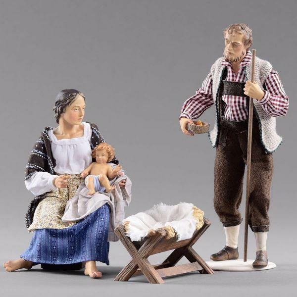 Immagine di Sacra Famiglia (4) Gruppo 3 pezzi cm 14 (5,5 inch) Presepe vestito Hannah Alpin statua in legno Val Gardena abiti in tessuto