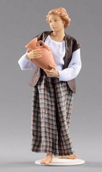 Imagen de Mujer con jarra cm 14 (5,5 inch) Pesebre vestido Hannah Alpin estatua en madera Val Gardena trajes de tela