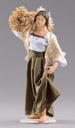 Imagen de Mujer con paja cm 14 (5,5 inch) Pesebre vestido Hannah Alpin estatua en madera Val Gardena trajes de tela