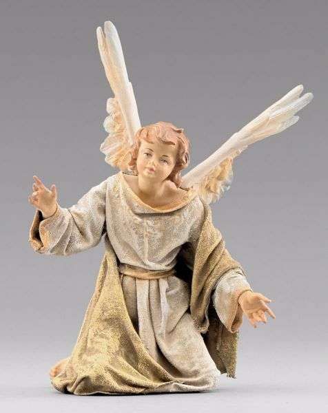 Immagine di Angelo in ginocchio cm 12 (4,7 inch) Presepe vestito Immanuel stile orientale statua in legno Val Gardena abiti in stoffa