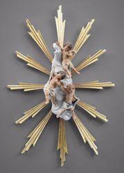 Imagen de Ángeles con Aureola y rayos de luz cm 12 (4,7 inch) Pesebre vestido Immanuel estilo oriental estatua en madera Val Gardena trajes de tela