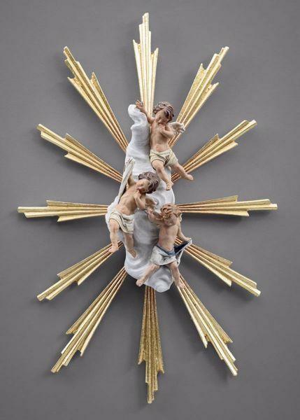 Immagine di Angioletti con Aureola e raggi di Luce cm 12 (4,7 inch) Presepe vestito Immanuel stile orientale statua in legno Val Gardena abiti in stoffa