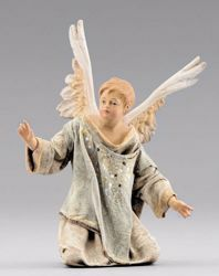 Imagen de Pequeño Ángel arrodillado cm 12 (4,7 inch) Pesebre vestido Immanuel estilo oriental estatua en madera Val Gardena trajes de tela
