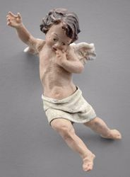 Imagen de Putto (1) cm 12 (4,7 inch) Pesebre vestido Immanuel estilo oriental estatua en madera Val Gardena trajes de tela