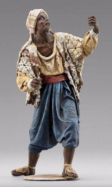 Imagen de Camellero moro de pie cm 12 (4,7 inch) Pesebre vestido Immanuel estilo oriental estatua en madera Val Gardena trajes de tela