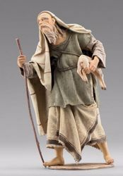 Picture of Elderly Shepherd with lamb cm 12 (4,7 inch) Immanuel dressed Nativity Scene oriental style Val Gardena wood statue fabric clothes