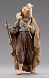 Imagen de Pastor con cordero cm 12 (4,7 inch) Pesebre vestido Immanuel estilo oriental estatua en madera Val Gardena trajes de tela