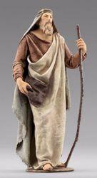 Imagen de Pastor con bolsa cm 12 (4,7 inch) Pesebre vestido Immanuel estilo oriental estatua en madera Val Gardena trajes de tela